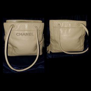 Authentic CHANEL cream leather shoulder bag